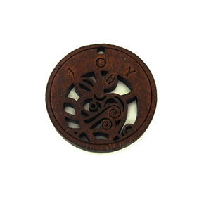 Wooden round message pendant stained-joy