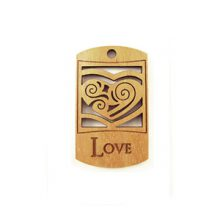 Wooden message pendant natural-love