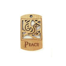 Wooden message pendant natural-peace