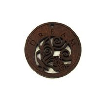 Wooden round message pendant stained-dream 35mm