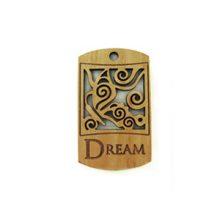 Wooden message pendant natural-dream 43mm