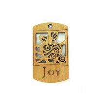 Wooden message pendant natural-joy