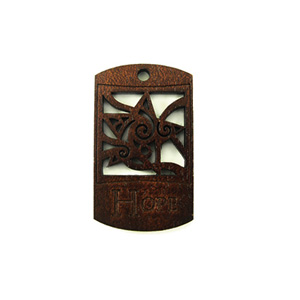 Wooden message pendant stained-hope