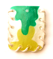 Yellow and Green Hammer shell Square With Twine Pendants