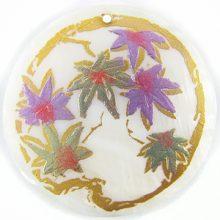 Poinsettia Flower Design Round Makabibi Shell Pendant