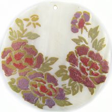 Purple Rose Design Round Makabibi Shell Pendant