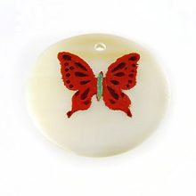 Makabibi Round Painted Embossed Butterfly Red