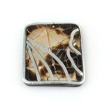 Brownlip 31mm square pendant w/ metal frame and coco back