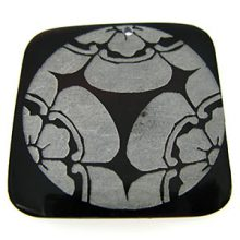 "Laser-etched Square ""Tri-flower"" Tab Shell Pendant"