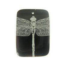 Laser Etched Rectangular Shell Pendants Dragonfly