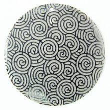 Black Pen Shell Silver Lace Laser Engraved Pendant