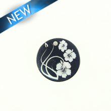 Makabibi Round 20mm Flower Laser Design Black
