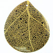 Teardrop Black Pen Shell Gold Leaf Design Laser Engraved Pendant