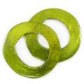 Capiz Shell Pendant Irregular Donut Olive Green