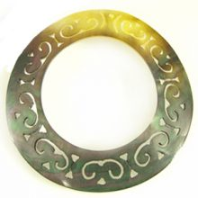 "Carved Round ""O-Ring"" Blacklip Shell Pendant"