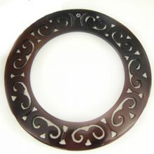 "Carved Round ""O-Ring"" Tab Shell Pendant 60mm"