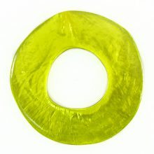 Capiz Shell Irregular Donut 50mm - Olive green
