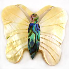 Mother Of Pearl and Paua Carved Butterfly Shell Pendants