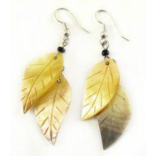 Blacklip double leaf earring wholesale