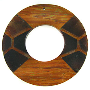 wood donut bayong w/ brown pendant inlay wholesale