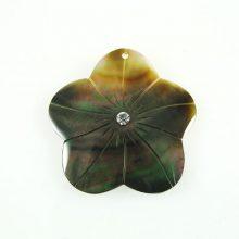 Blacklip 35mm flower w/ white crystal