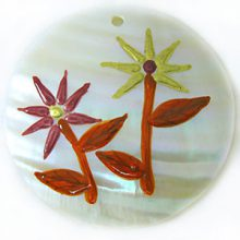 Makabibi shell 50mm painted flower in Peach/Gold