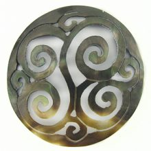 Blacklip shell carved round pendant 50mm