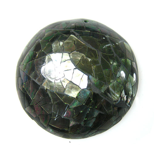 Blacklip shell dome inlaid cracked