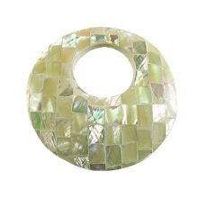 White abalone shell blocking round w/21mm top hole
