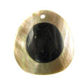 Brownlip shell round 40mm embossed pendant