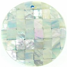 Abalone blue blocking 40mm wholesale pendant