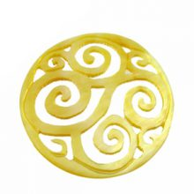 MOP round carved swirl 35mm