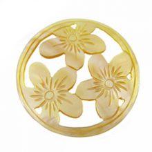 MOP round carved 3-set flower 35mm
