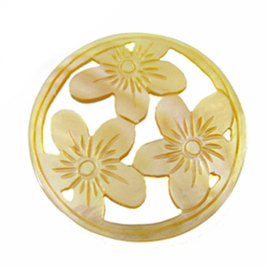 MOP round carved 3-set flower 35mm wholesale