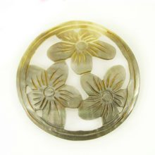 Blacklip round carved 3-set flower 35mm wholesale pendant