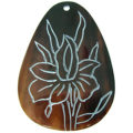 Brownpen shell teardrop carved flower