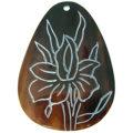 Brownpen shell teardrop carved flower
