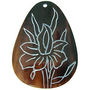 Brownpen drop carved flower wholesale pendant