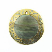 blacklip 30mm round carved gold frame wholesale pendants