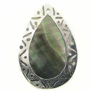 blacklip teardrop 30x45mm carved silver wholesale pendants