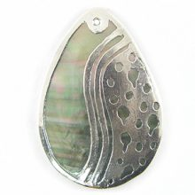blacklip teardrop 30mm silver yinyan wholesale pendants