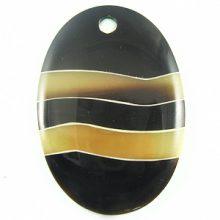 Black horn oval w/ greyhorn wholesale pendants