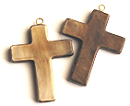 Burnt horn cross w/ ring pendant