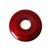 Red donut horn pendant 30mm