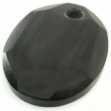 Black horn faceted oval 46x62mm