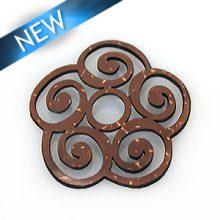 Laser-cut brown coco disc irregular shape wholesale pendants