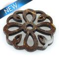 Laser cut brown coco disc flower shape wholesale pendant