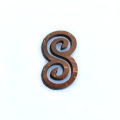 Laser cut brown coconut shell infinity pendant 27mm