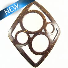 Coconut shell diamond carved 4-ring pendant brown 56x73mm
