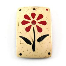 White coconut shell flower painted rectangular pendant